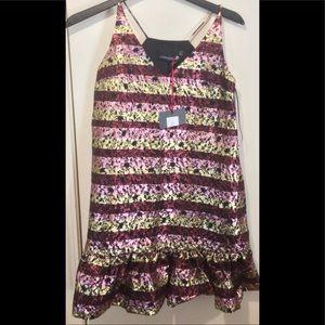 Cynthia Rowley Shiny Floral V-Neck Spaghetti Dress
